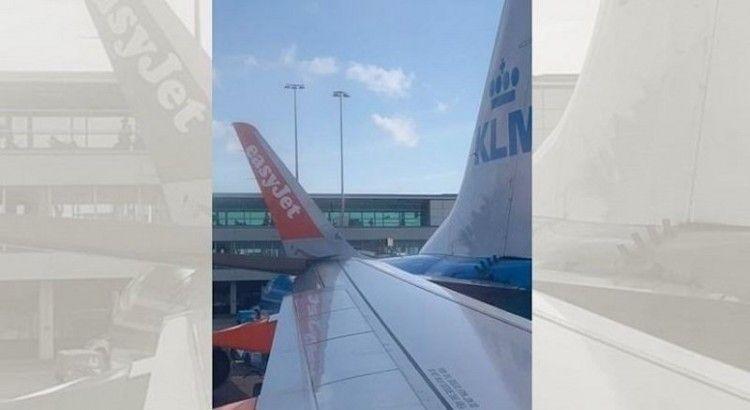 Imagen que circula en twitter del golpe entre ambos aviones