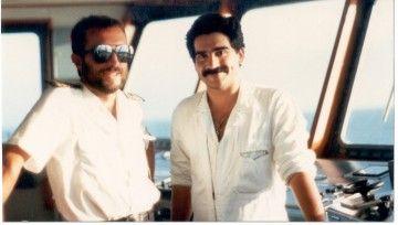"""Manuel López Rodríguez López y Antonio Rodríguez Fonte, en el puente del segundo """"Benchijigua"""""""