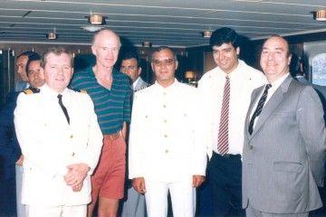 De izq. a dcha.: Thor Fleten, Fred. Olsen Sr., Servando Peraza García, Juan Carlos Díaz Lorenzo y Rafael Marín Correa
