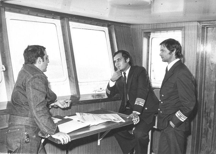 """Carlos Hernández Padilla, Servando Peraza García y Francisco Aguiar Rodríguez, en el puente del primer """"Benchijigua"""""""