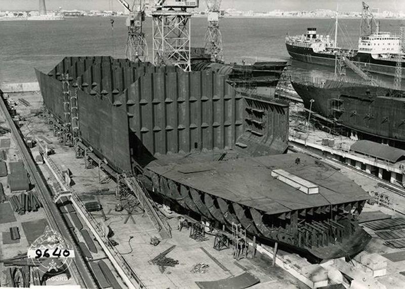 El casco del buque tomó forma en nueve meses