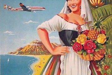 Cartel de Iberia promocionando Canarias y el avión Super Constellation