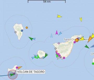 """Localización del catamarán """"Volcán de Tagoro"""" al sur de El Hierro"""