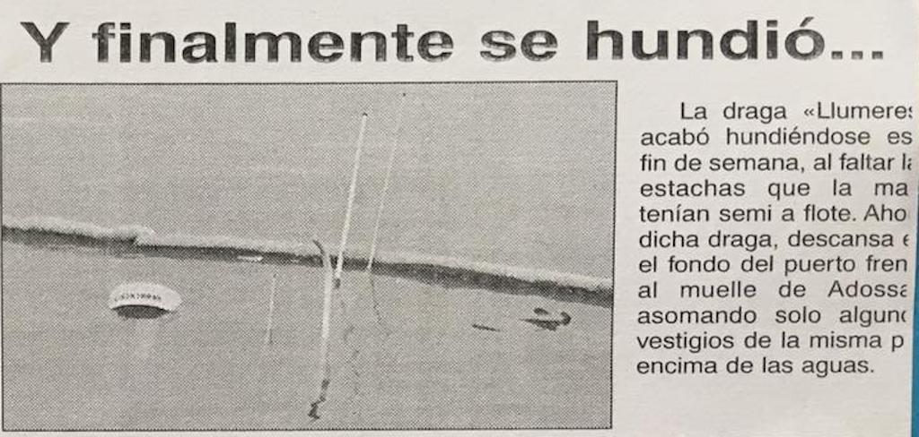 """Noticia que confirma el hundimiento del buque """"Llumeres"""""""