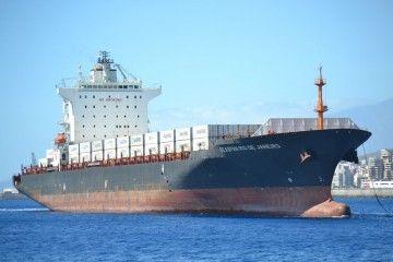 """El buque """"Seaspan Río de Janeiro"""", a su llegada al puerto de Santa Cruz de Tenerife"""