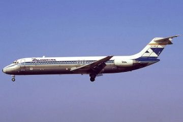 El avión Douglas DC-9/32 de AVIACO EC-BIQ, en vuelo
