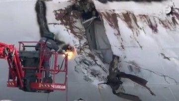"""Operarios del astillero de St. Nazaire trabajan en la reparación del casco del buque """"Astor"""""""