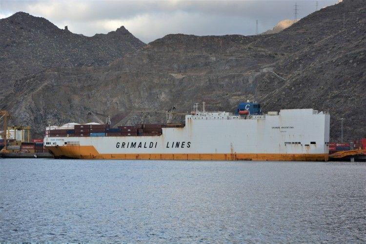"""El buque combi """"Grande Argentina"""", atracado en la terminal del dique del Este"""