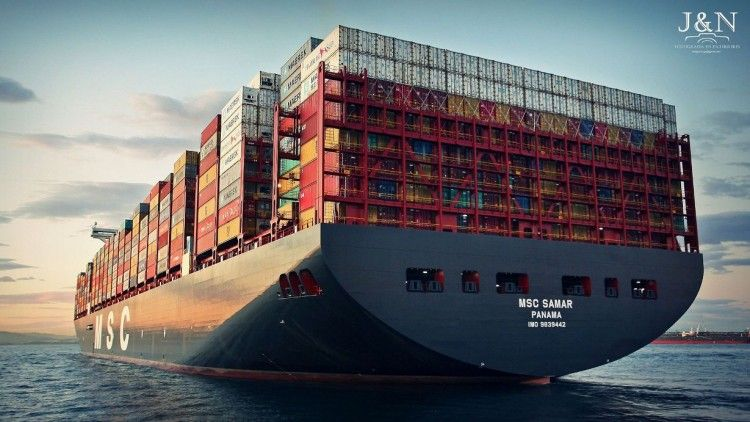 """El buque """"MSC Sanmar"""", visto por la aleta de babor"""