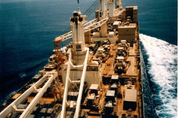 """Cubierta principal del buque """"Ville du Havre"""""""
