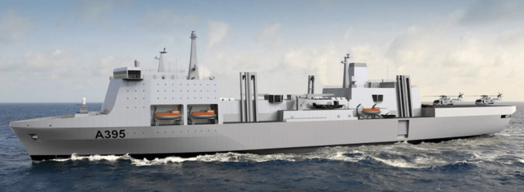 Aspecto exterior del proyecto de AOR para la Royal Navy