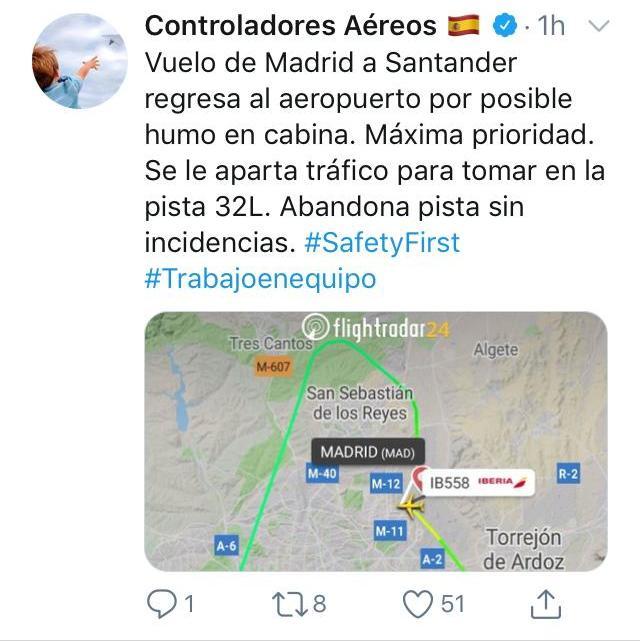 Tweet de Controladores Aéreos