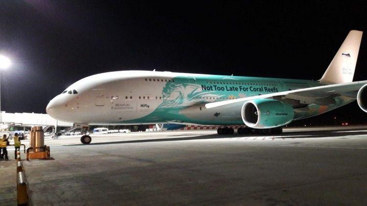 El avión A380 de Hifly, en el aeropuerto de Gran Canaria