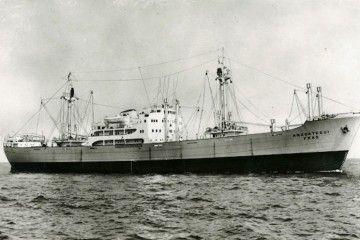 """Estampa marinera del buque """"Anzoátegui"""", construido en astilleros de Holanda"""
