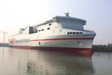 """El buque """"Ciudad de Valencia"""", esta mañana, a su puesta a flote"""