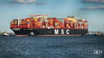 """El buque """"MSC Isabella"""", a su llegada al puerto de Algeciras"""