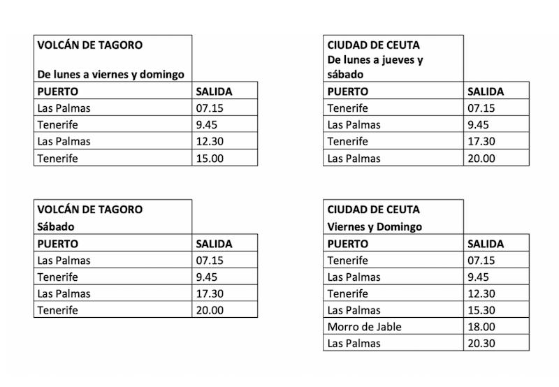 """Cuadro de horarios de los catamaranes """"Volcán de Tagoro"""" y """"Ciudad de Ceuta"""""""
