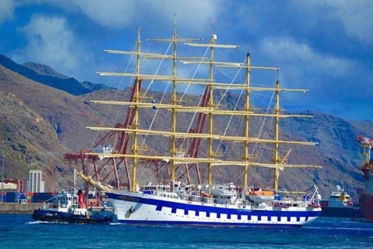 """El elegante velero de cinco palos """"Royal Clipper"""", de nuevo en Tenerife. Foto de 2018"""
