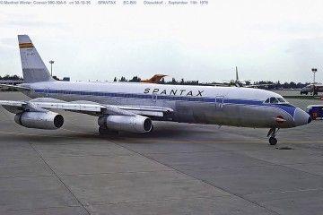 Convair CV990A Coronado EC-BXI en el aeropuerto de  Dusseldorf