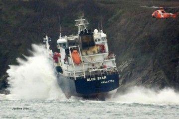 El estado de la mar ayer impidió avanzar en los trabajos