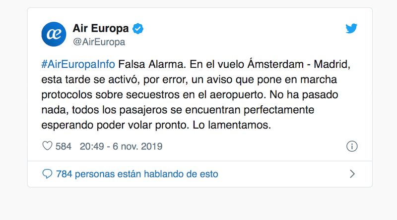 Este es el tweet de Air Europa aclarando la situación