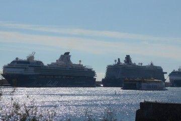 """Los tres buques de Tui Cruises y el catamarán """"Bencomo Express"""""""