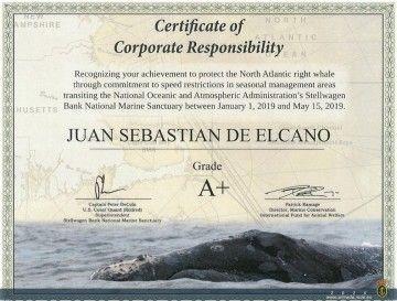 """Certificado del NOAA otorgado al buque escuela """"Juan Sebastián de Elcano"""""""
