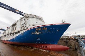 """El buque """"Mardi Gras"""", en el dique seco donde ha sido construido"""