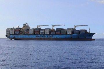 """El buque portacontenedores """"Maersk Cunene"""", fondeado en el antepuerto tinerfeño"""
