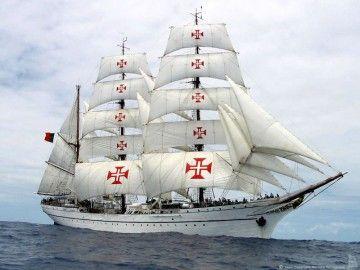 """Estampa marinera del buque-escuela """"Sagres"""""""