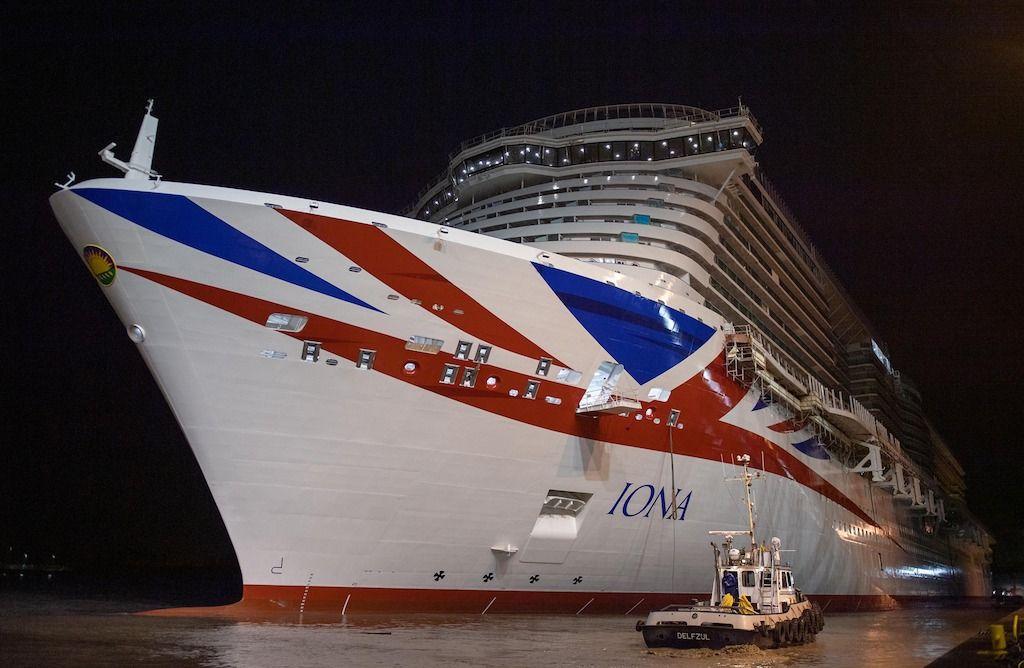 """El buque """"Iona"""", a su puesta a flote"""
