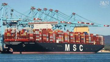 """El buque """"MSC Ambra"""", atracado en APM Terminals de Algeciras"""