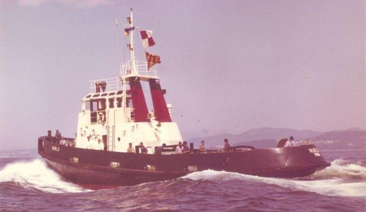 """El remolcador """"Nublo"""", en sus pruebas de mar en Vigo"""