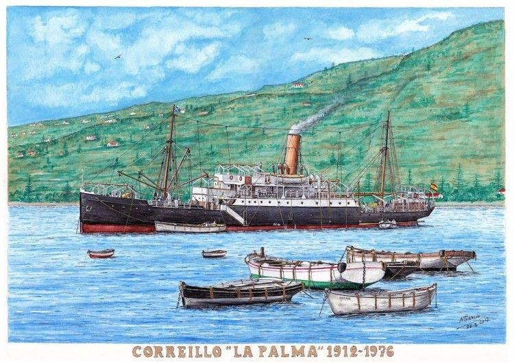 """El vapor """"La Palma"""", fondeado en Santa Cruz de La Palma, en un cuadro de Manuel García (2017)"""