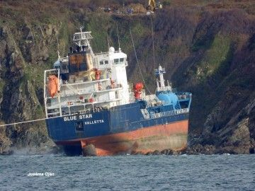El buque embarrancó en las proximidades de As Mirandas