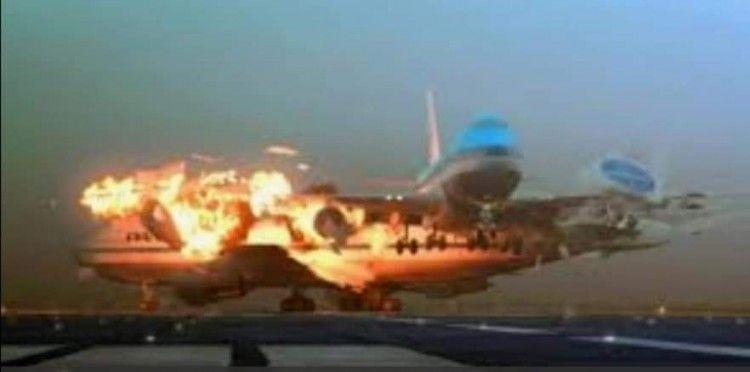 Recreación gráfica del momento del impacto entre los dos aviones B-747