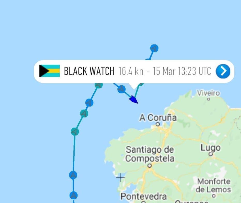 """Derrota seguida por el buque """"Black Watch"""""""