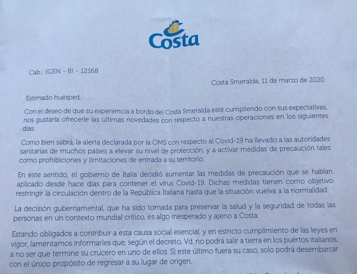 Carta enviada a los pasajeros a la salida de Palma de Mallorca