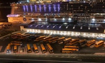 Una veintena de guaguas, aparcadas en la terminal de cruceros de Tenerife