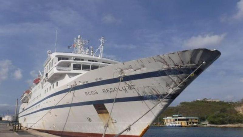 """Como se puede apreciar, los daños en la proa del buque """"RCGS Resolute"""" han sido mínimos"""