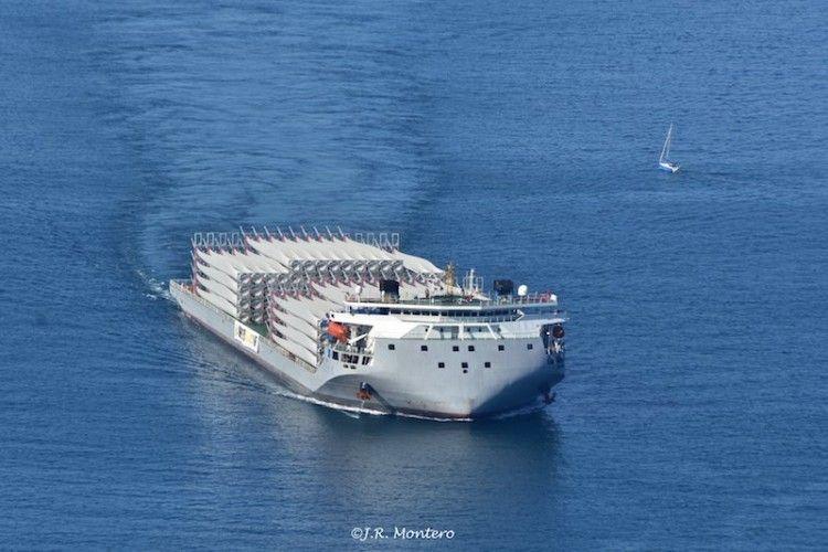 "El buque chino ""Zhi Xian Zhi Xing"", a su llegada en febrero de 2019"