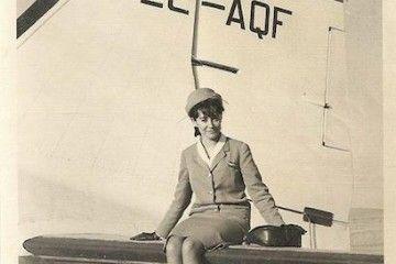 María del Carmen Vázquez, en su etapa de azafata de Spantax