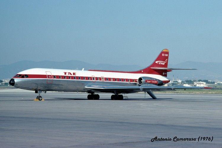 Super Caravelle 10B3 de TAE en el aeropuerto de Mallorca