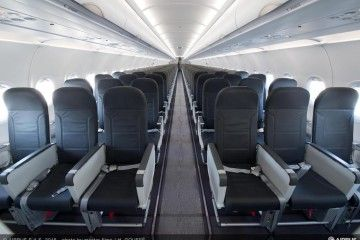 Interior de la cabina de un avión A320 de Vueling