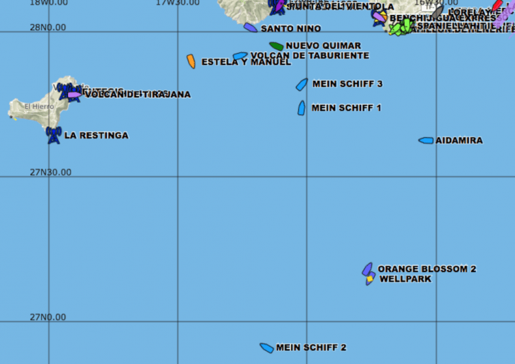 Posición de los buques a las 16,47 hora local