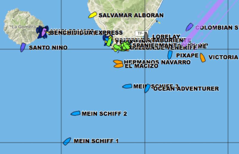 """Posición de los tres """"Mein Schiff"""" y el """"Ocean Adventure"""""""