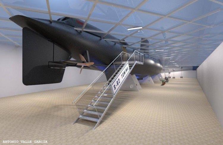Acceso al submarino desde la parte inferior de su emplazamiento