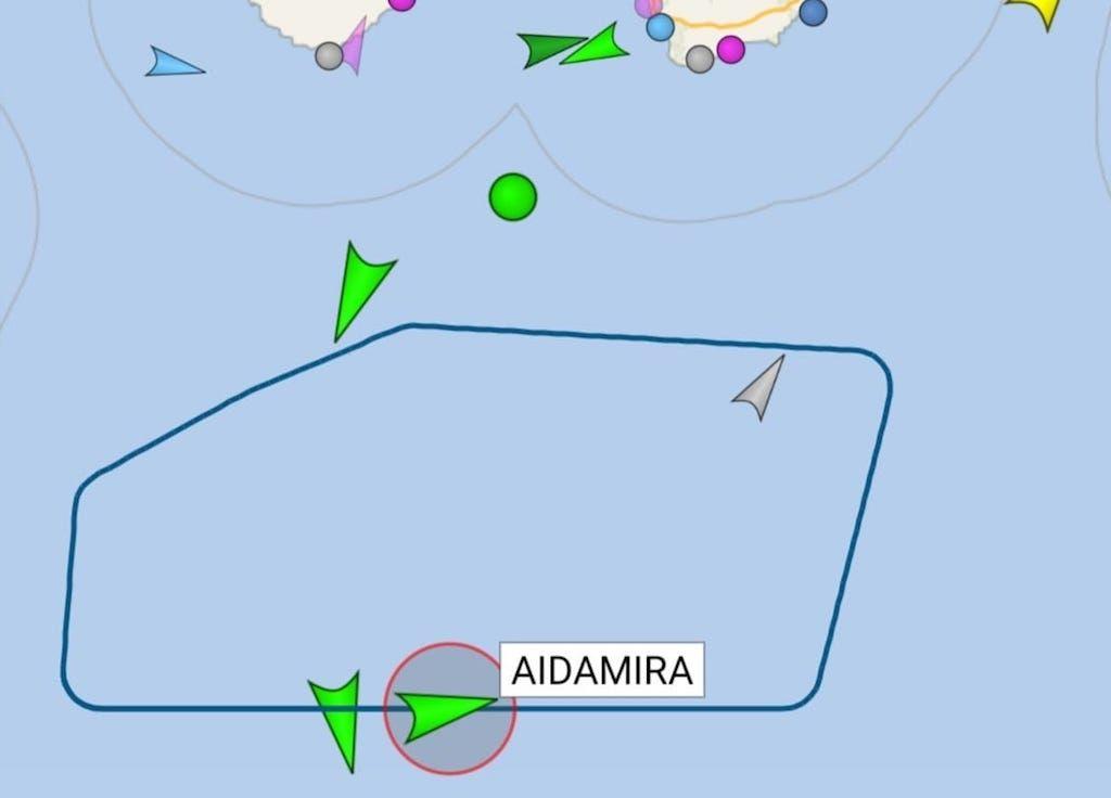 """Recorrido desde hace dos días del buque """"AIDAmira"""""""