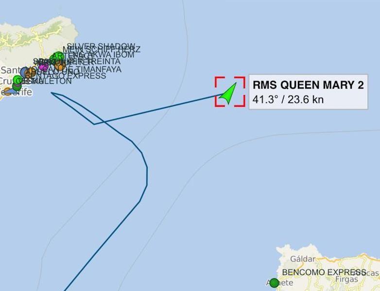 """Derrota seguida por el buque """"Queen Mary 2"""" en su aproximación a Tenerife"""