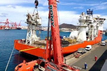 """El buque """"Normand Navigator"""", durante su escala en el puerto de Las Palmas de Gran Canaria"""